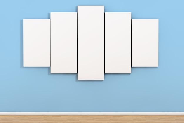 Poster in bianco bianco nella stanza vuota su uno sfondo di parete blu. rendering 3d