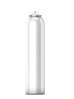 Deodorante bottiglia bianca senza coperchio isolato su uno sfondo bianco