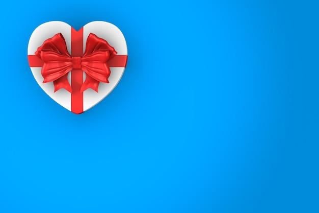 Scatola bianca con fiocco rosso su sfondo blu. illustrazione 3d isolata