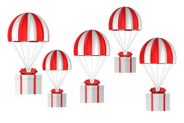 Scatola bianca con fiocco rosso e paracadute su bianco. illustrazione 3d isolata
