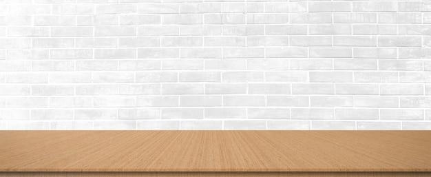 Sfondo con motivo mattoni bianchi prospettiva seppia tavolo in legno