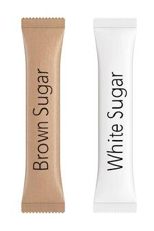 Pacchetti bianchi e marroni per zucchero su sfondo bianco. rendering 3d