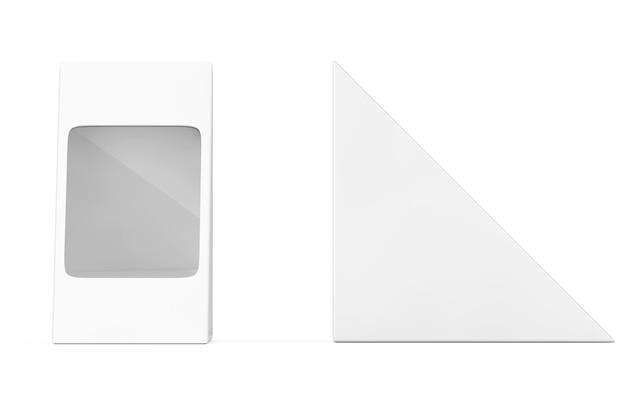 Pacchetto di cartone bianco triangolo vaiolo per alimenti, regali o altri prodotti con uno spazio vuoto per il tuo design su uno sfondo bianco. rendering 3d