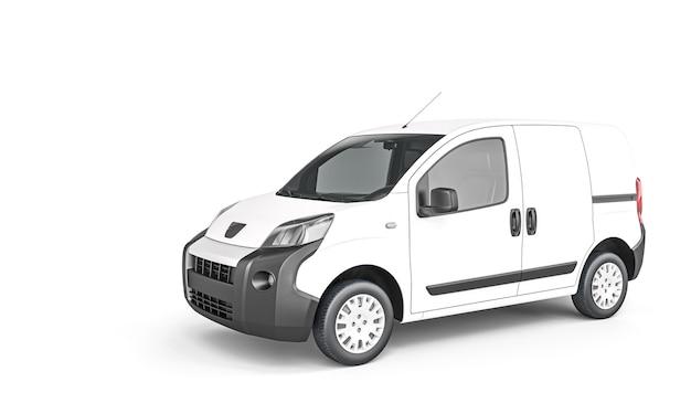 Minivan da carico bianco isolato