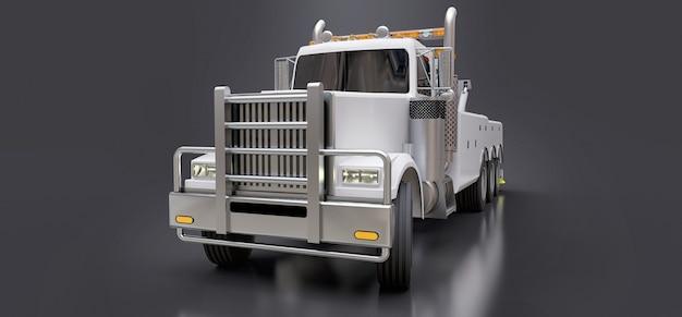 Carro attrezzi bianchi per il trasporto di altri grandi camion o vari macchinari pesanti Foto Premium