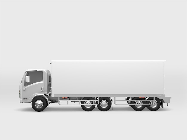 Camion carico bianco su sfondo bianco