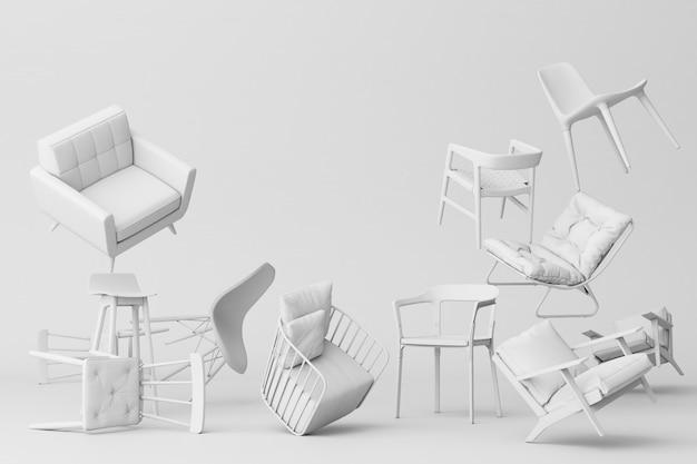 Sedie bianche nel fondo bianco vuoto concetto della rappresentazione di arte 3d dell'installazione e di minimalismo