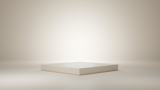 Podio bianco o champagne su sfondo di camera pulita. mostra vuota o piedistallo vuoto. podio per l'esposizione del prodotto. rendering 3d.