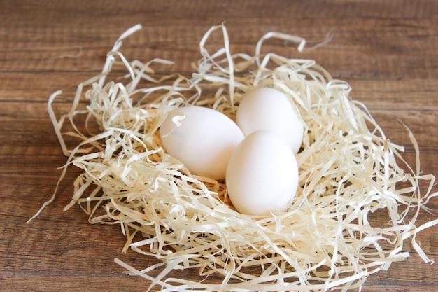 Uova di gallina bianche in un nido