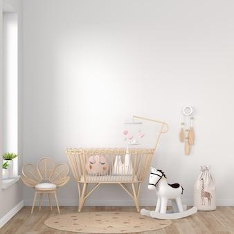 Camera da letto bianca del bambino con lo spazio della copia