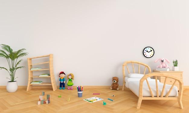 Interno bianco della stanza dei bambini per il modello