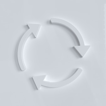 Frecce circolari bianche che ruotano su sfondo bianco aggiorna il segno di rotazione del ciclo di riciclo di ricarica