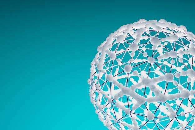 Wireframe di arte del cerchio bianco con neve su fondo blu, fondo astratto e progettazione della carta da parati, rappresentazione dell'illustrazione 3d