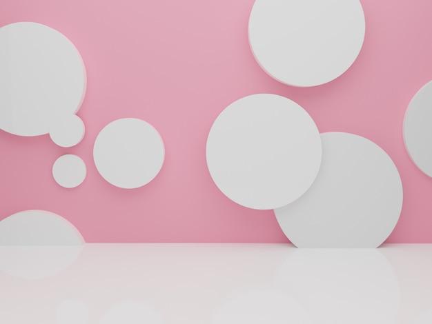 Fondo astratto minimo della parete rosa del cerchio bianco per cosmetici o un altro prodotto, rendering 3d