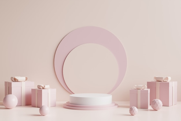 Podio cerchio bianco decorato con una confezione regalo rosa sul lato e con uno sfondo color crema. rendering 3d.