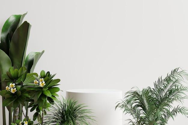Podio cerchio bianco decorato con alberi laterali e rendering bianco background.3d.