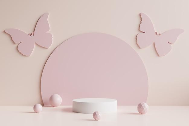 Podio del cerchio bianco con farfalle rosa, cerchio rosa e sfere rosa