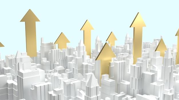 L'edificio della città bianca e la freccia d'oro verso l'alto per i contenuti aziendali di proprietà
