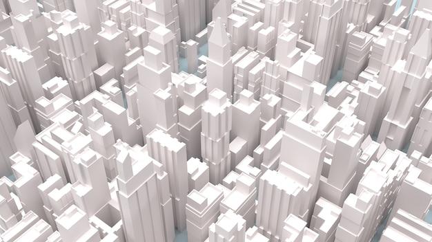 La rappresentazione 3d degli edifici della città bianca