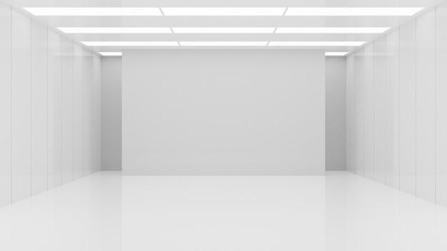 Prodotti minimalisti dell'esposizione della parete del fondo dello studio della stanza dello spazio interno di architettura vuota bianca bianca rendering 3d.