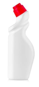 Attrezzatura per la pulizia bianca isolata su uno sfondo bianco. bottiglie di plastica colorate con detersivo isolato su sfondo bianco.