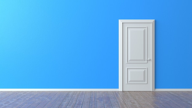 Porta chiusa bianca sulla parete blu