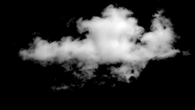 Nuvola bianca isolata su sfondo nero. foto di alta qualità
