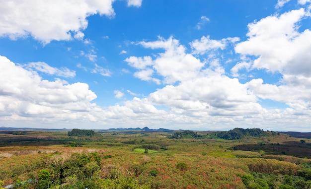 Nuvole bianche nel cielo blu sopra montagne verdi ricoperte di alberi di foreste pluviali.