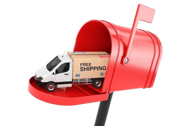 Furgone di consegna di carico industriale commerciale bianco camion caricato con scatola di cartone con spedizione gratuita accedi red mailbox su sfondo bianco. rendering 3d