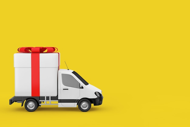 Furgone di consegna di carico industriale commerciale bianco camion caricato con scatola regalo e nastro rosso su sfondo giallo. rendering 3d