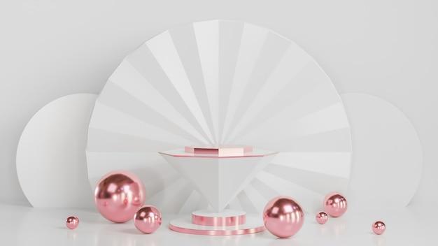 Podio conico bianco per la presentazione del prodotto con palla color oro rosa su sfondo bianco stile di lusso., modello 3d e illustrazione.