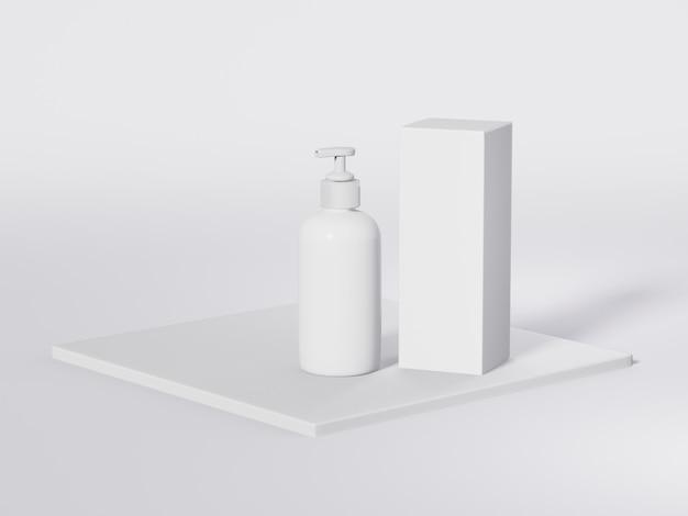 Flacone cosmetico bianco con coperchio dell'erogatore della pompa per prodotti idratanti e liquidi per il viso. modello 3d. mockup di packaging cosmetico.