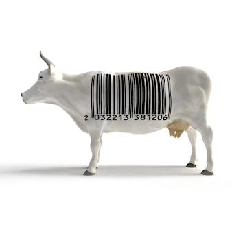 Mucca bianca con un enorme codice a barre sul busto al posto di modelli di pelle di mucca