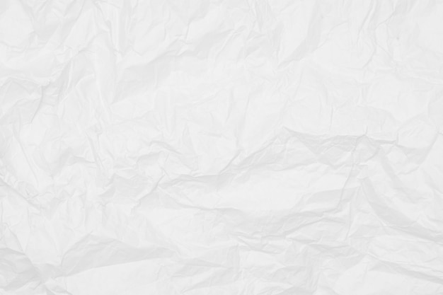 Struttura di carta sgualcita bianca, fondo bianco, carta da parati