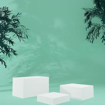 Cubo bianco prodotto stand in camera verde con albero, scena in studio per prodotto, design minimale, rendering 3d