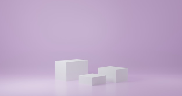 Cubo bianco prodotto stand in camera viola, studio scene for product, design minimale, rendering 3d