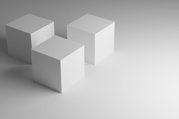I cubi bianchi stanno per prodotti. rendering 3d