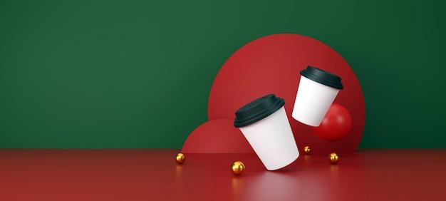 Tazza di caffè bianca su sfondo verde e rosso. illustrazione 3d