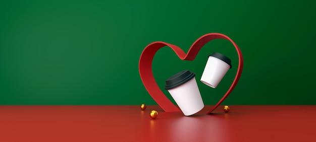 Tazza di caffè bianca su sfondo verde e rosso