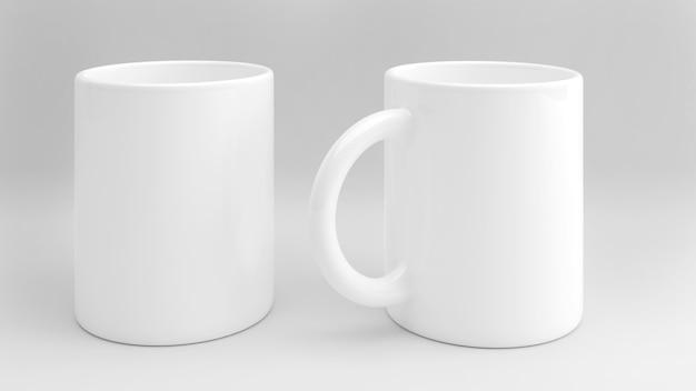 Modello di tazza bianca su sfondo bianco, isolato su sfondo bianco, rendering 3d