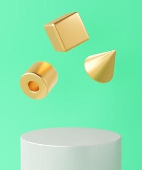 Base cilindrica bianca e tre oggetti geometrici dorati fluttuanti su sfondo turchese, sfondo minimalista per il marchio e la presentazione. rendering 3d