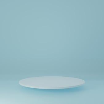 Cilindro bianco product stand nella stanza blu, studio scene for product, design minimale, rendering 3d