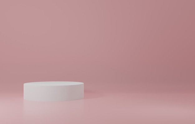 Cilindro bianco product stand in camera rosa, studio scene for product, design minimale, rendering 3d