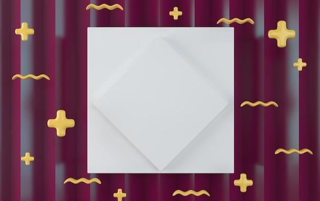 Diamante bianco sul quadrato bianco.