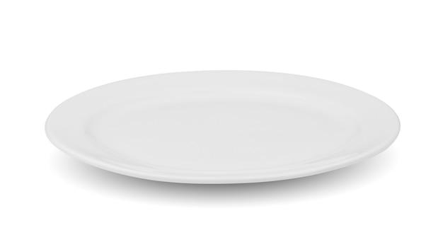 Piatto bianco in ceramica isolato su sfondo bianco