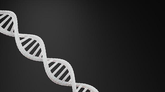 Estratto di struttura del dna bianco su sfondo nero, rendering 3d.