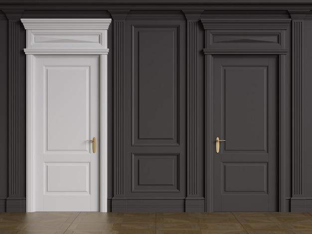 Porta bianca nell'interno nero con lo spazio della copia Foto Premium
