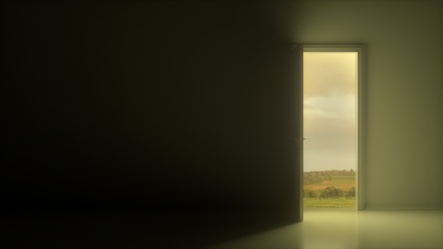 La porta bianca si apre per rivelare un bel cielo nuvoloso e un campo in una stanza grigio scuro