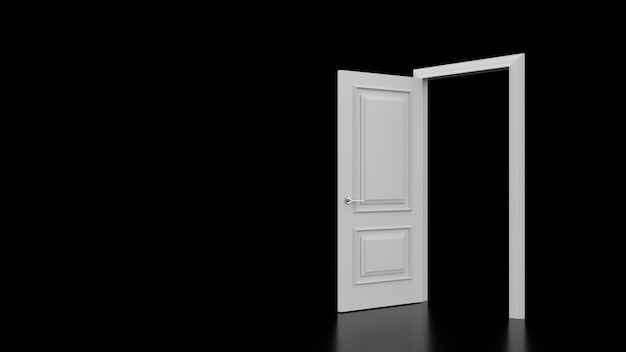 Apertura della porta bianca in camera oscura