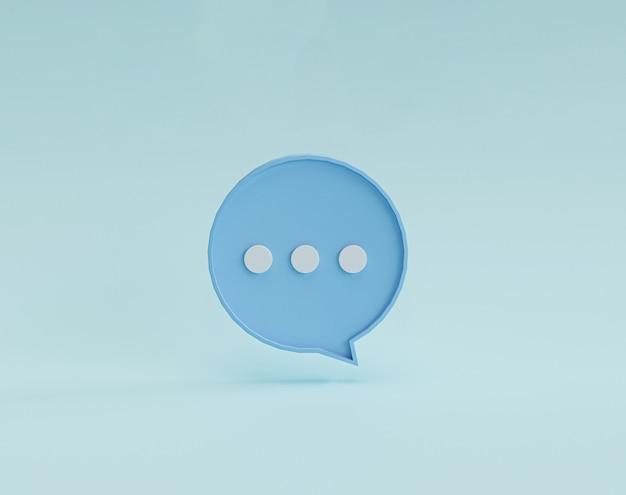 Illustrazione del punto bianco all'interno del fumetto blu su sfondo blu per sms di chat e messaggio di commento tramite rendering 3d.